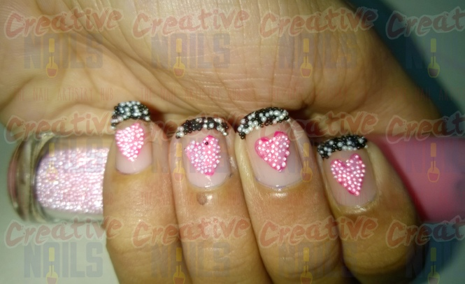 Heart Beats beads nail art