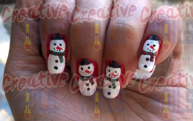 snowman christmas winter nailart