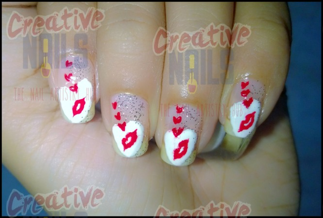 Kissing day nail art