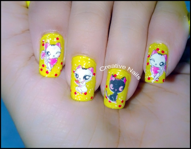 Cute Cat Nail Art Water Decals