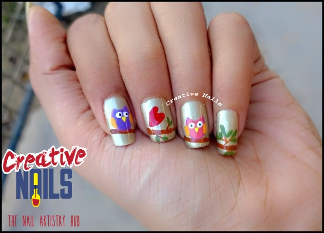 Love Story Of Owls On Nails