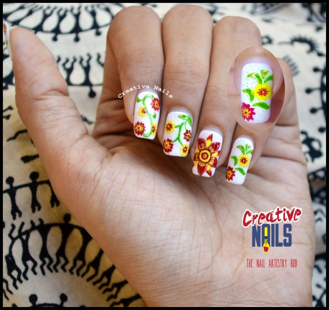 Floral Mani With Air Bubbles