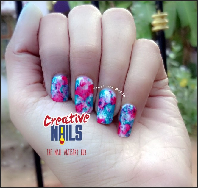 Saran Wrap Technique Nail Art For Holi