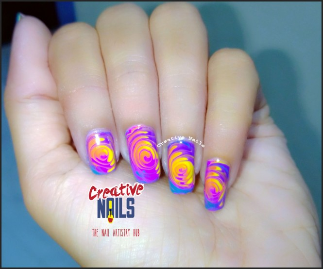 Swirl Nail Art For Holi