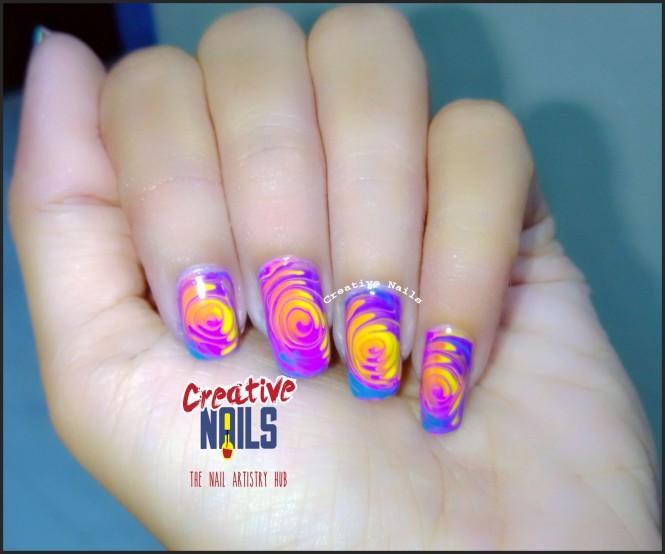 Swirl Nail Art For Holi