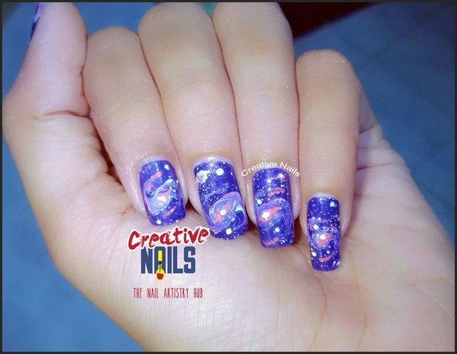 Galaxy Nails Using Drag Marble Technique!