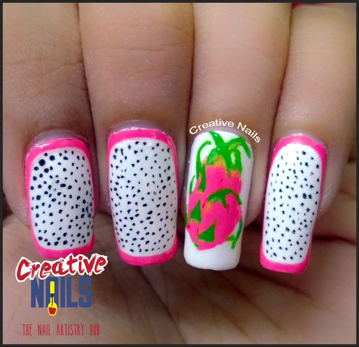 Dragon Fruit Nail Art