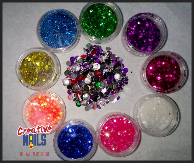 Hexagonal Glitters and Rhinestones