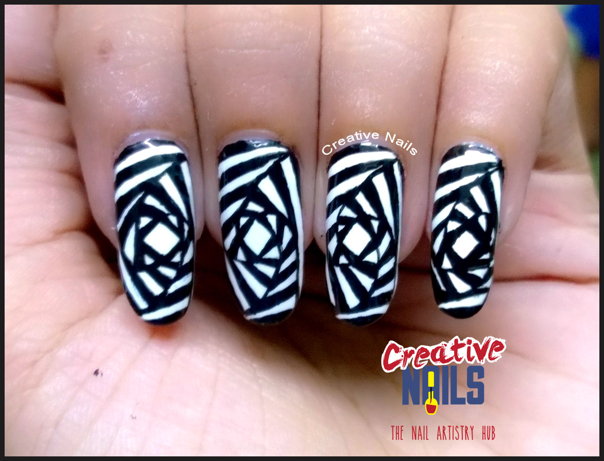 Free Hand Op Art On Nails
