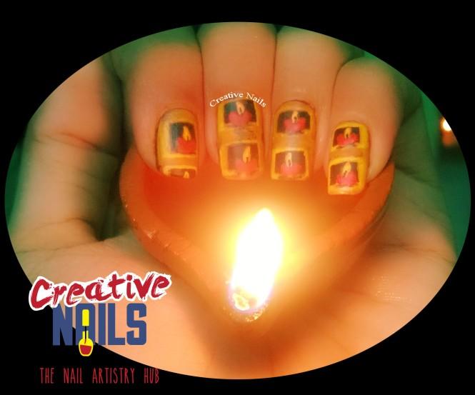 Diwali Diya Nail Art