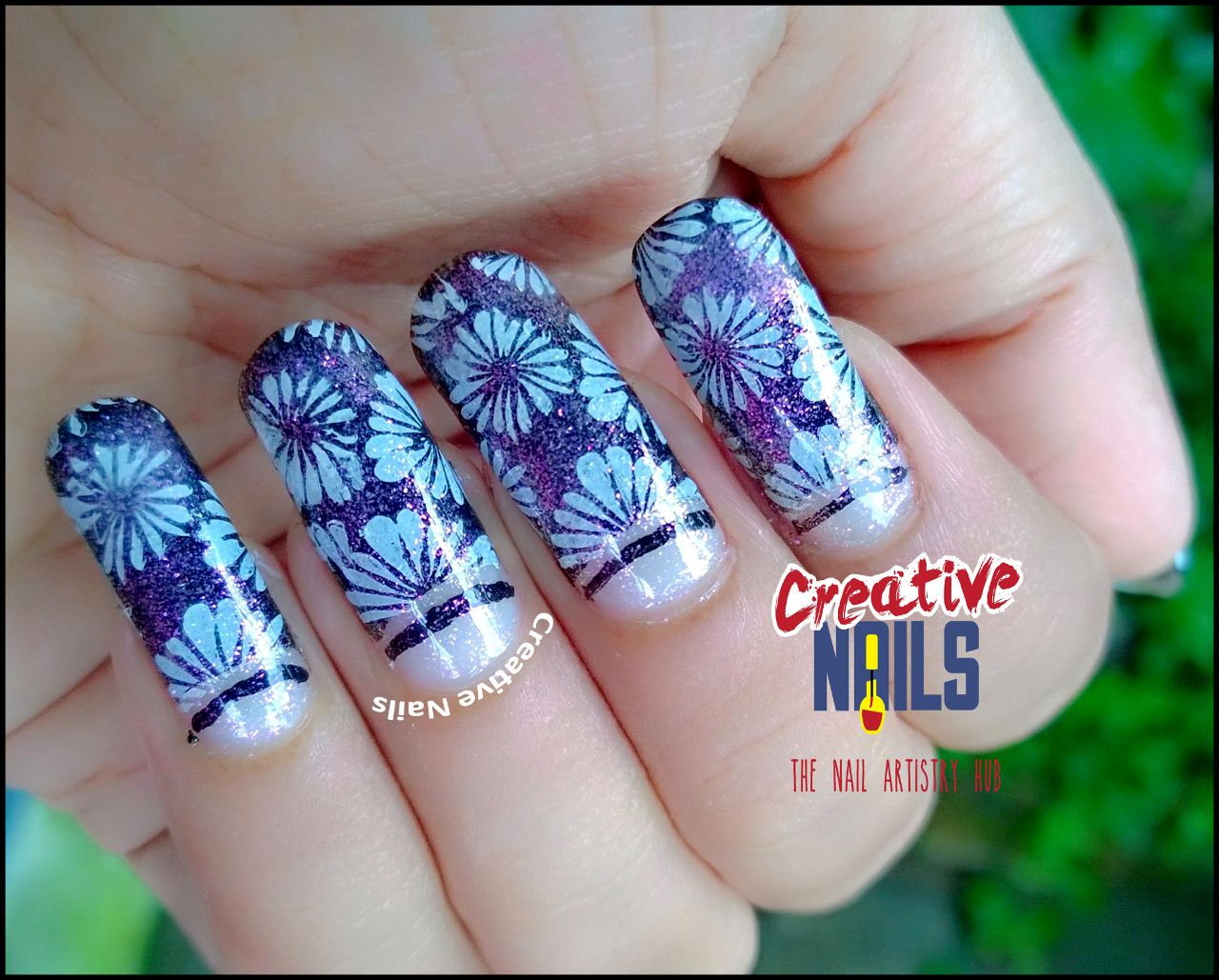 Negative Space Floral Nail Art!
