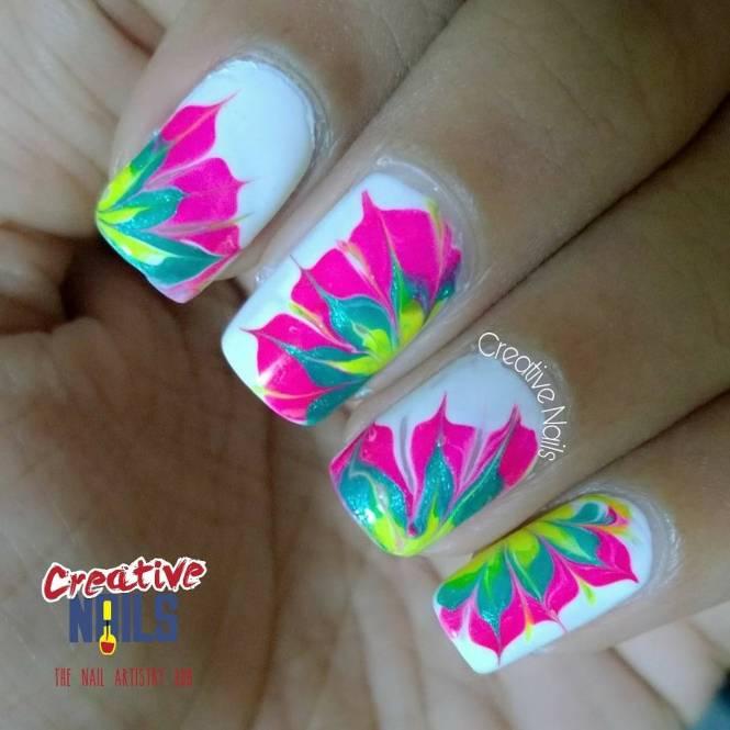 Floral Drag Marble Nail Art