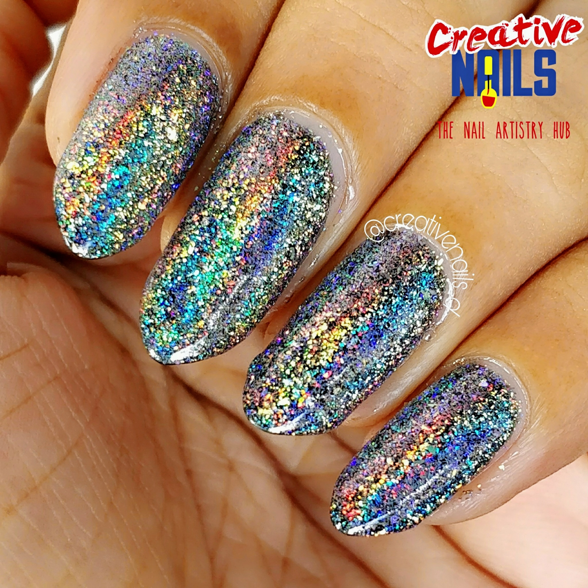 Holographic Flakies Nail Art Clicked In Sunlight