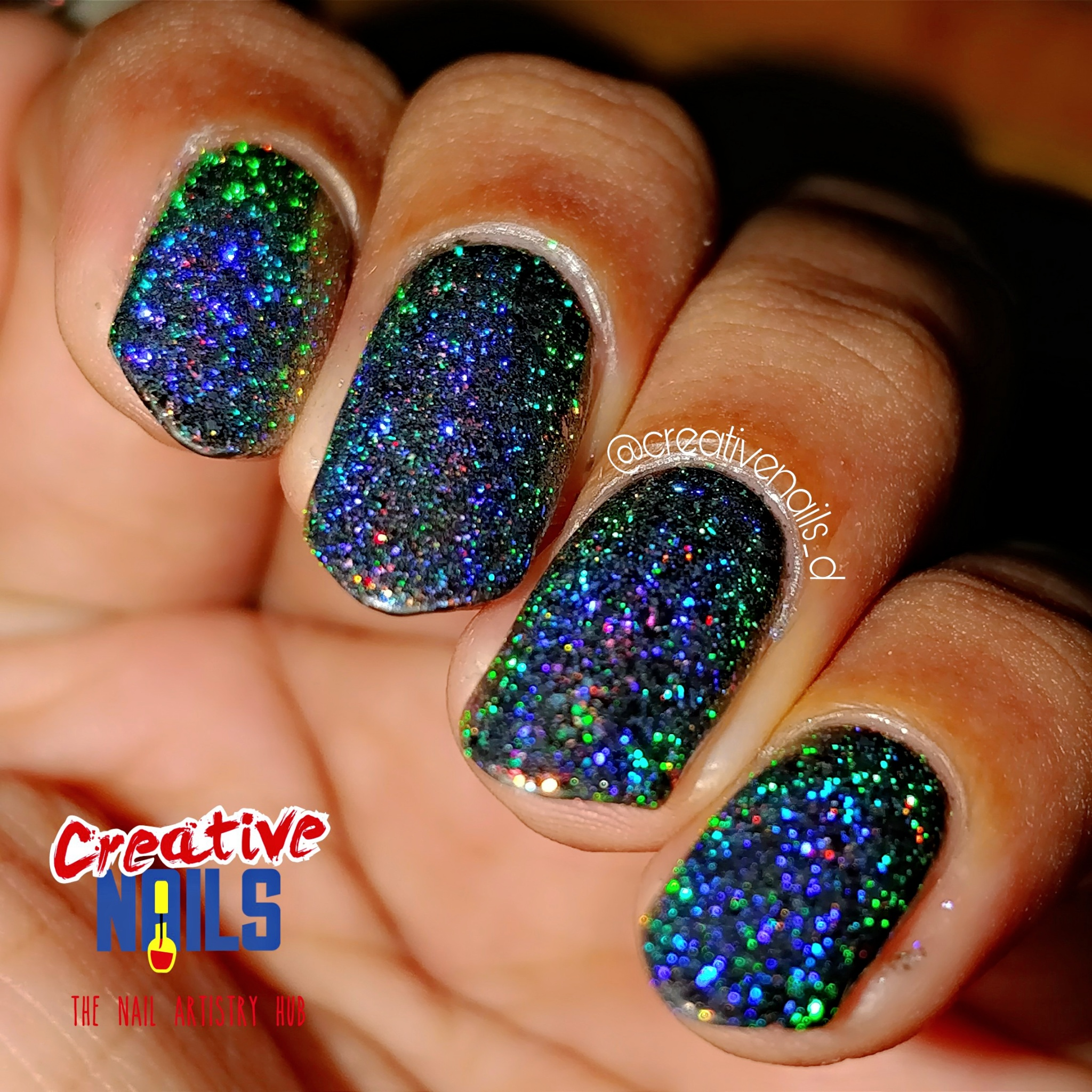 Holographic Flakies Nail Art Clicked with Flash