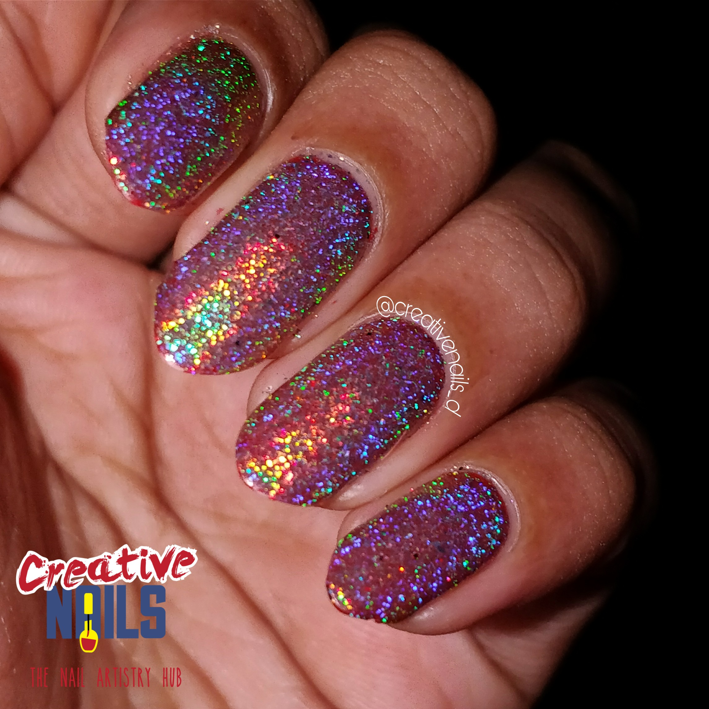 Holographic Flakies Nail Art On Red Base - Flash