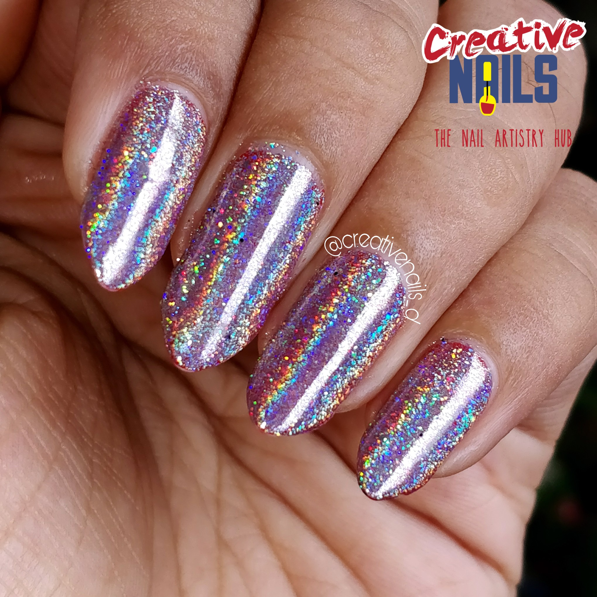 Holographic Flakies Nail Art On Red Base - sunlight