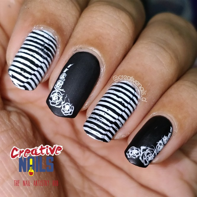 Black And White Matte Nails