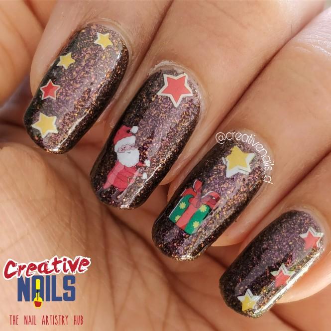 Santa Gift Box Nail Art