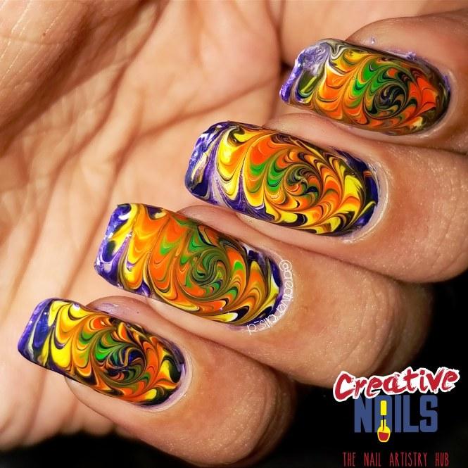 Spiral Fire Nail Art!