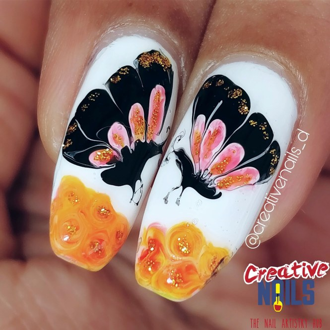 Dragmarble Butterfly Nail Art