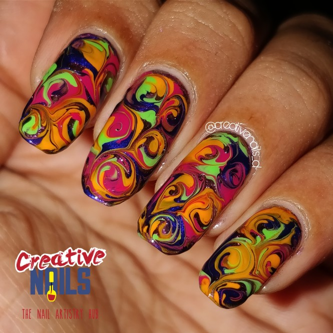 Neon Candy Drag Marble Nails!