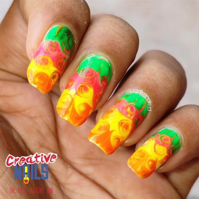 Rose Garden Drag Marble Nail Art