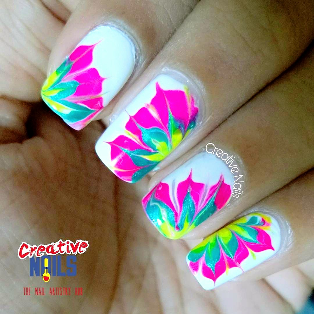 Neon Floral Drag Marble Nail Art