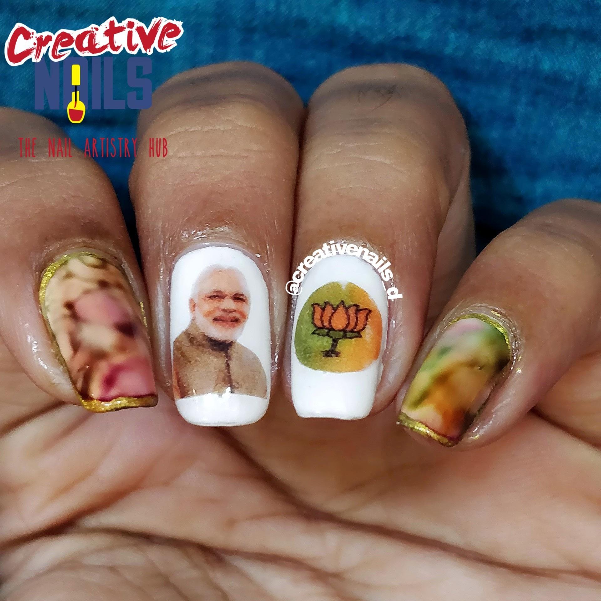 Phir Ek Baar Modi Sarkar - Good Luck Modi Ji Nail Art!